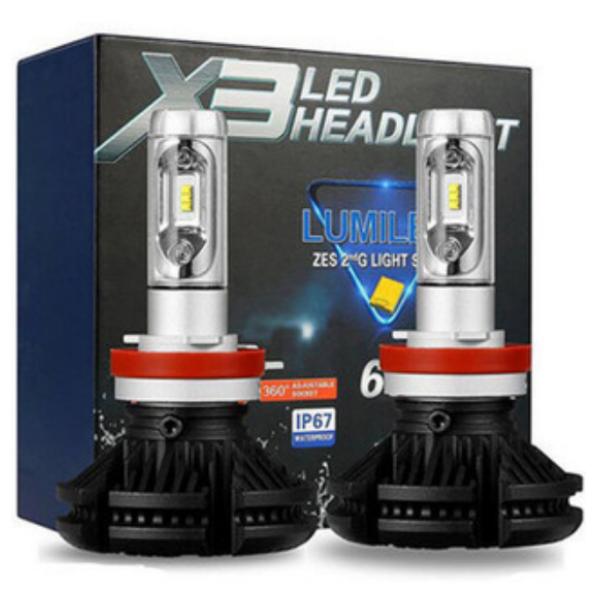 Две лампы светодиодные в фары X3 H27 по 25 w